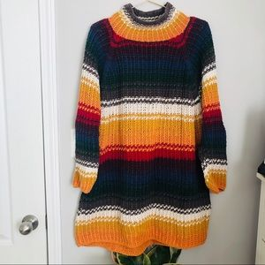 Vintage Express Rainbow Stripe Sweater Dress